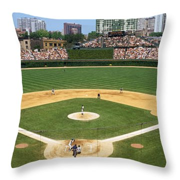 Usa, Illinois, Chicago, Cubs, Baseball Throw Pillow