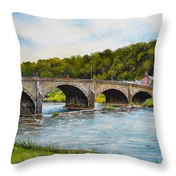 Usk Bridge Throw Pillow by Andrew Read