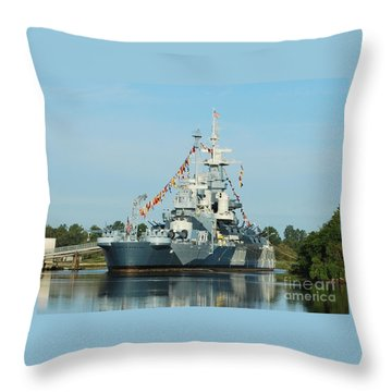Uss North Carolina Battleship Throw Pillow by Bob Sample