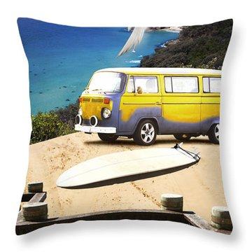 Van And Surf Board At Beach Throw Pillow