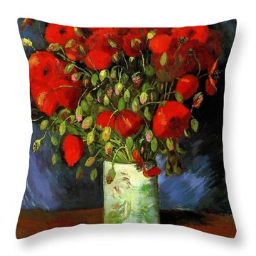 Vase With Red Poppies Throw Pillow