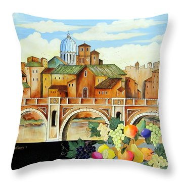 Throw Pillow featuring the painting Vecchia Roma by Roberto Gagliardi