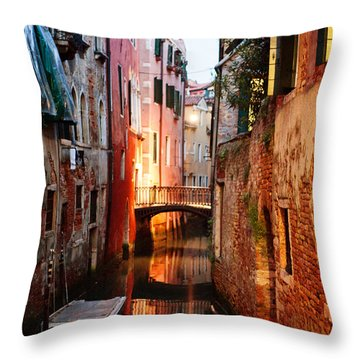 Throw Pillow featuring the photograph Venice Italy Canal by Kim Fearheiley