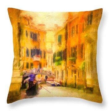 Venice Waterway No. 4 Throw Pillow by Jane Fiala