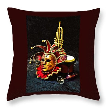 Throw Pillow featuring the photograph Venitian Joker 2 by Elf Evans
