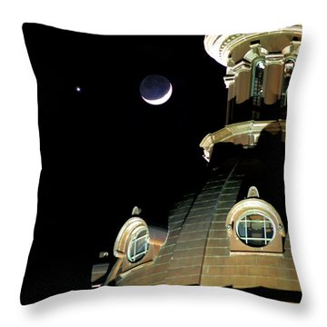 Venus And Crescent Moon-1 Throw Pillow