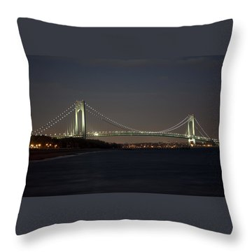 1 Verrazano Narrows Bridge At Twilight Throw Pillow