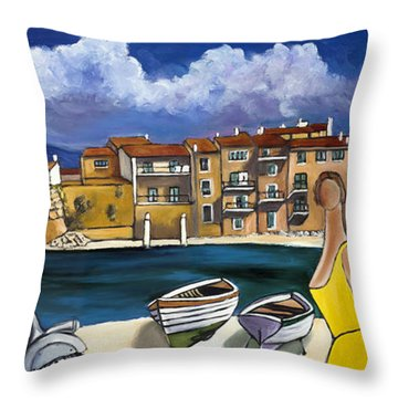 Vespa And French Cove Throw Pillow
