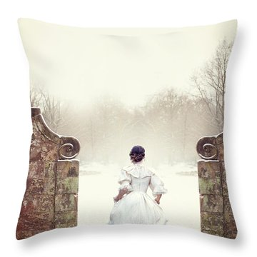 Victorian Woman In Snow Throw Pillow