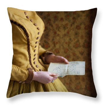 Victorian Woman Reading A Love Letter Throw Pillow by Lee Avison