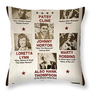 Vintage 1953 Grand Ole Opry Poster Throw Pillow