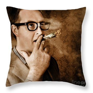 Vintage Business Man Smoking Money In Success Throw Pillow