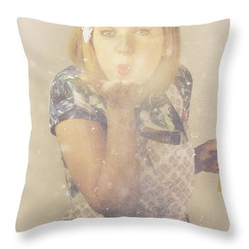 Vintage Cookery Girl Baking With Pinch Of Flour Throw Pillow