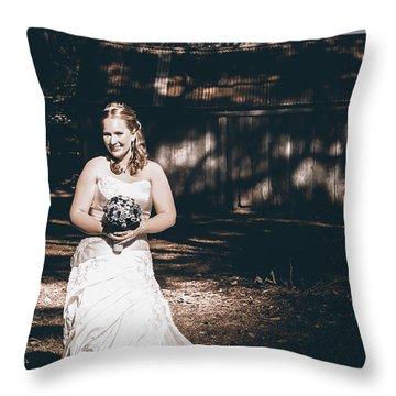Vintage Elegant Bride At Rural Australian Wedding Throw Pillow