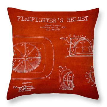 Vintage Firefighter Helmet Patent Drawing From 1932 Throw Pillow