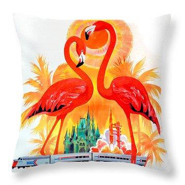 Vintage Florida Travel Poster Throw Pillow