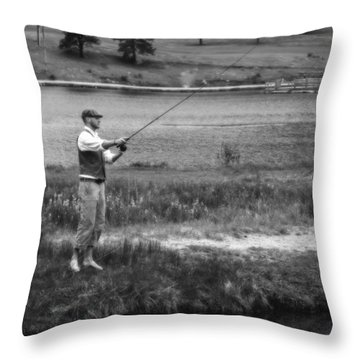 Throw Pillow featuring the photograph Vintage Fly Fishing by Ron White