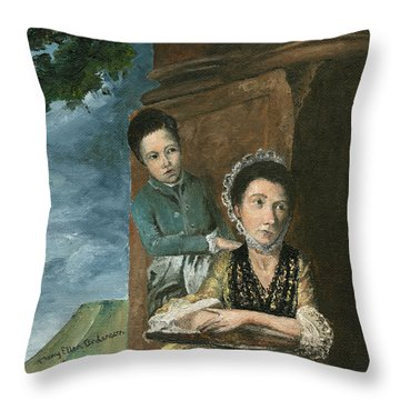 Throw Pillow featuring the painting Vintage Mother And Son by Mary Ellen Anderson