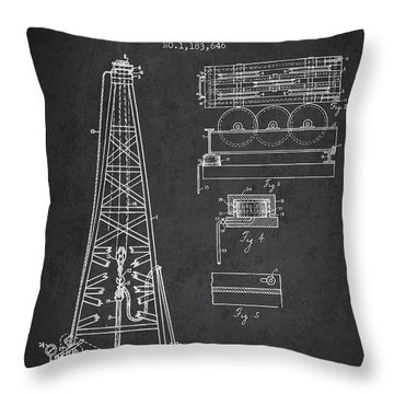 Vintage Oil Drilling Rig Patent From 1916 Throw Pillow