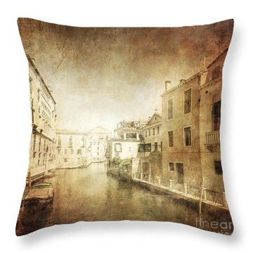 Vintage Photo Of Venetian Canal Throw Pillow by Evgeny Kuklev