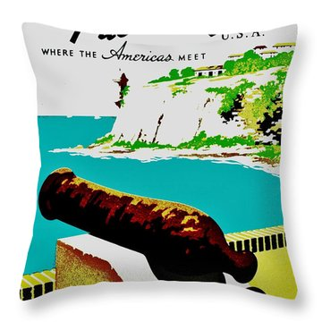 Vintage Poster - Puerto Rico Throw Pillow by Benjamin Yeager
