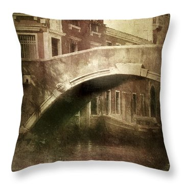 Vintage Shot Of Venetian Canal, Venice Throw Pillow by Evgeny Kuklev