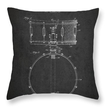 Snare Drum Patent Drawing From 1939 - Dark Throw Pillow