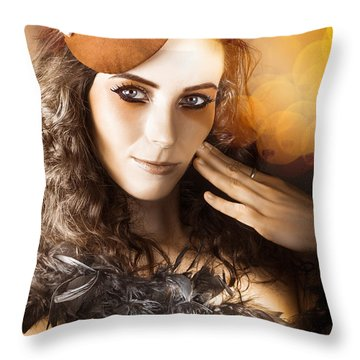 Vintage Style Actress Performing In French Beret Throw Pillow by Jorgo Photography - Wall Art Gallery