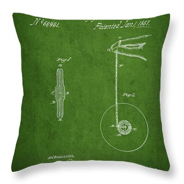 Vintage Yoyo Patent Drawing From 1867 Throw Pillow by Aged Pixel