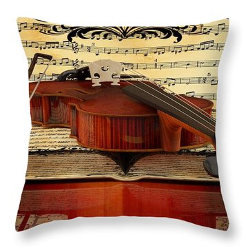 Violin  Throw Pillow by Louis Ferreira
