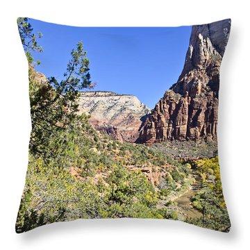 Virgin River View -zion Throw Pillow by Jon Berghoff