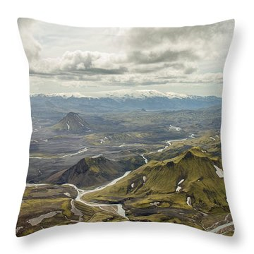 Volcano Valley In Iceland Throw Pillow