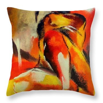 Throw Pillow featuring the painting Waiting by Dragica  Micki Fortuna