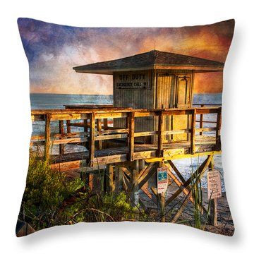 Waiting For Customers Throw Pillow by Debra and Dave Vanderlaan