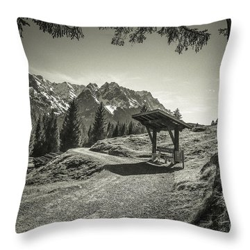 walking in the Alps - bw Throw Pillow by Hannes Cmarits
