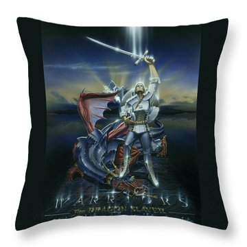Warriors Dragon Slayer Throw Pillow by Cliff Hawley
