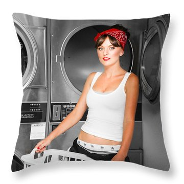 Washing Clothes At Laundry Throw Pillow