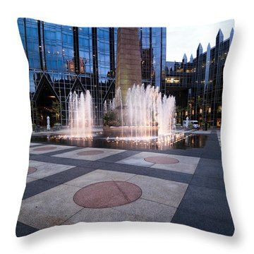 Water Fountain At Ppg Place Plaza Pittsburgh Throw Pillow by Amy Cicconi