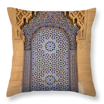 Throw Pillow featuring the photograph Water Fountain Mausoleum Of Mohammed V Opposite Hassan Tower Rabat Morocco  by Ralph A  Ledergerber-Photography