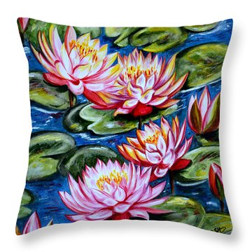 Throw Pillow featuring the painting Water Lilies by Harsh Malik