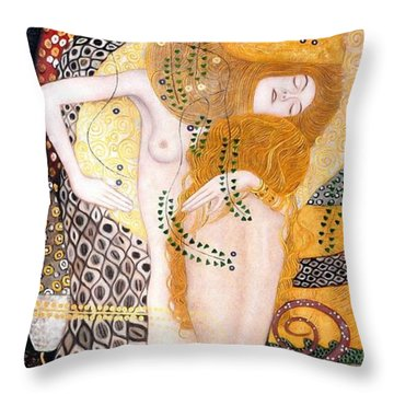 Water Serpents I Throw Pillow