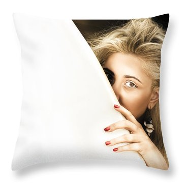 Water Sport Woman Throw Pillow