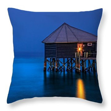 Water Villa In The Maldives Throw Pillow
