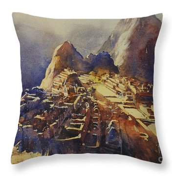 Watercolor Painting Machu Picchu Peru Throw Pillow by Ryan Fox