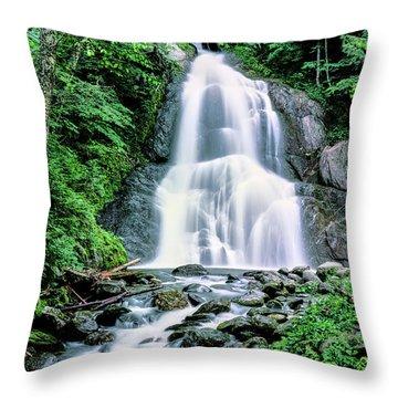Waterfall In A Forest, Moss Glen Falls Throw Pillow