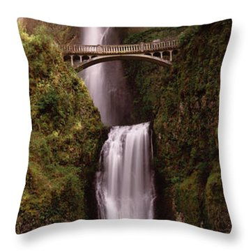 Waterfall In A Forest, Multnomah Falls Throw Pillow by Panoramic Images