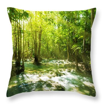 Waterfall In Rainforest Throw Pillow