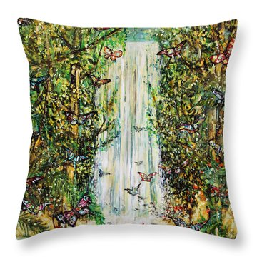 Waterfall Of Prosperity II Throw Pillow