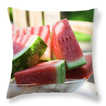 Watermelon Wedges In A Bowl Of Ice Cubes Throw Pillow