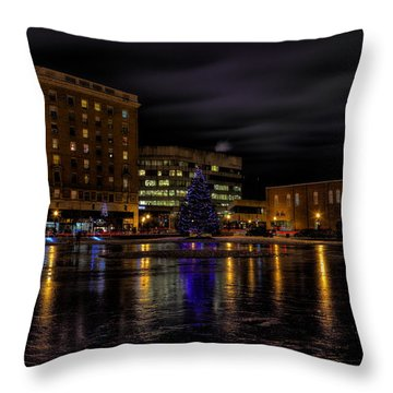 Wausau After Dark At Christmas Throw Pillow